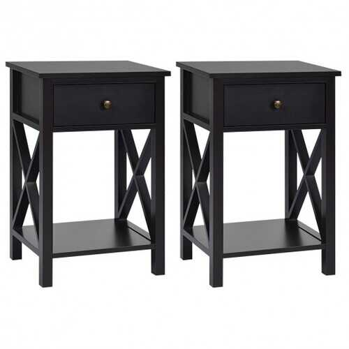 2pcs Bedroom Side End Nightstand with Drawer-Brown
