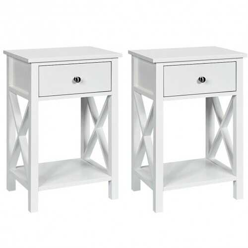 2pcs Bedroom Side End Nightstand with Drawer-White