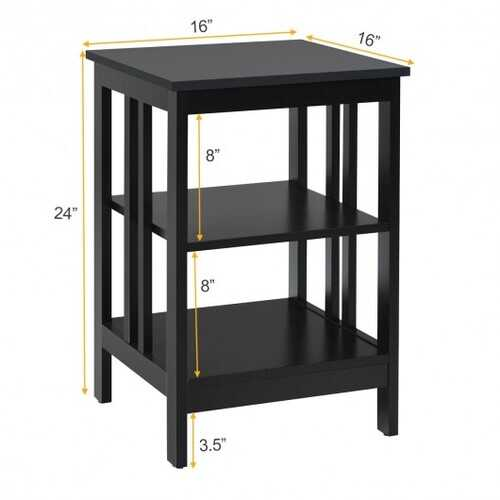3-tier Side Table Nightstand with Stable Structure-Black