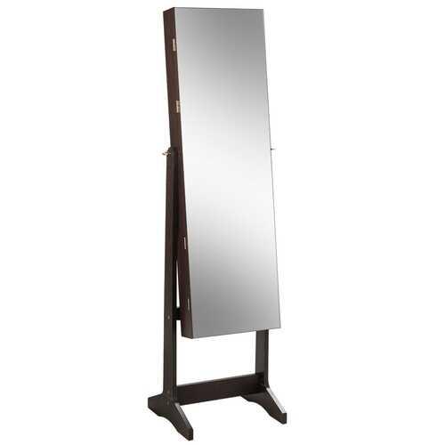 Jewelry Cabinet Armoire Lockable Standing Storage Organizer-Brown