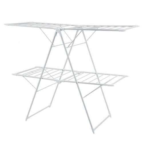 2-Level Foldable Clothes Drying Rack-White - Color: White