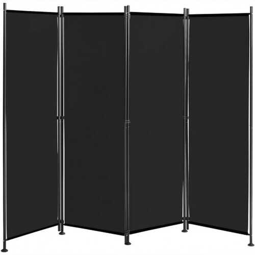 4-Panel Room Divider Folding Privacy Screen-Black - Color: Black