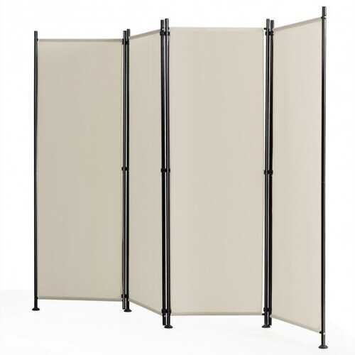 4-Panel Room Divider Folding Privacy Screen-Beige - Color: Beige