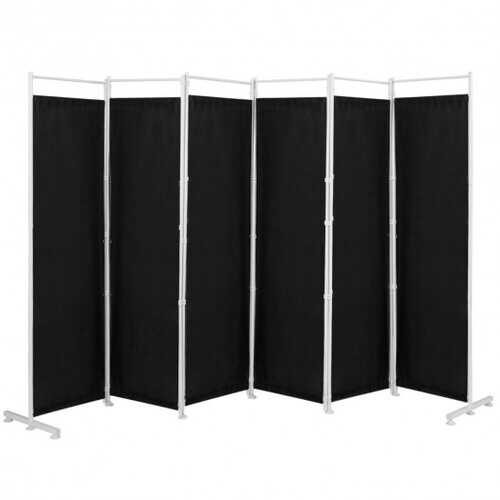6-Panel Room Divider Folding Privacy Screen -Black - Color: Black