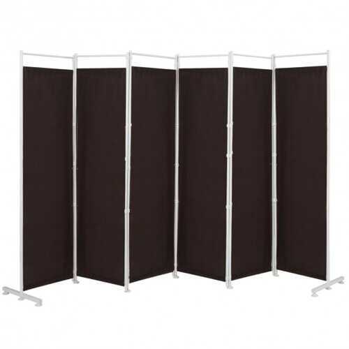 6-Panel Room Divider Folding Privacy Screen -Brown