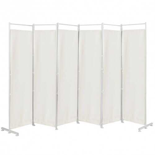 6-Panel Room Divider Folding Privacy Screen -White - Color: White