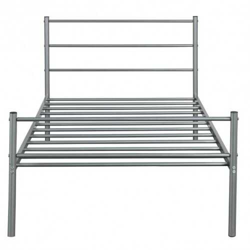 Twin Size Metal Bed Frame Platform with Headboard-Silver