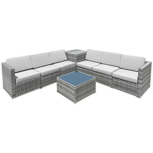 8 PCS Weaving Rattan Sofa Set with Storage Outdoor