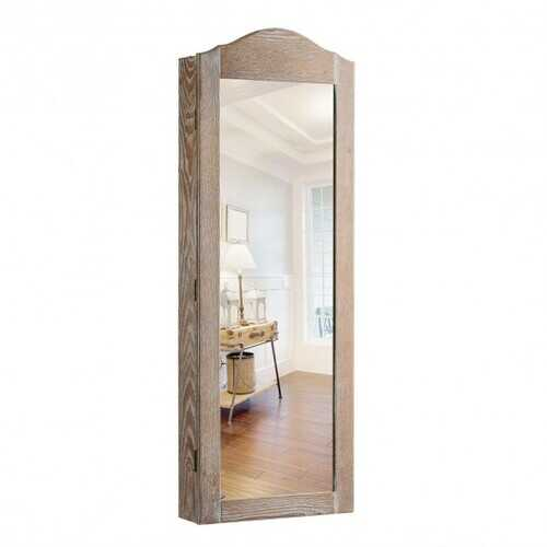 "Cabinet Wall/Door Mounted with Mirror Jewelry Armoire - Size: 14"" x 3.5"" x 38"""