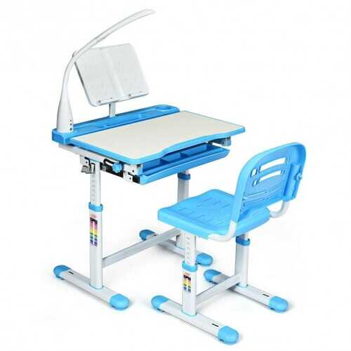 Adjustable Kids Desk Chair Set with Lamp and Bookstand-Blue