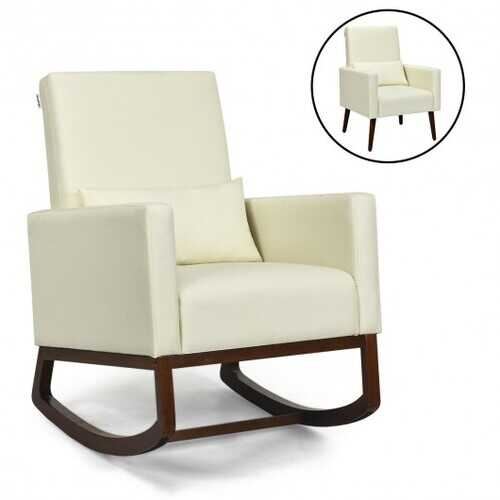 2-in-1 Fabric Upholstered Rocking Chair with Pillow-Beige - Color: Beige