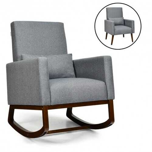 2-in-1 Fabric Upholstered Rocking Chair with Pillow-Gray - Color: Gray