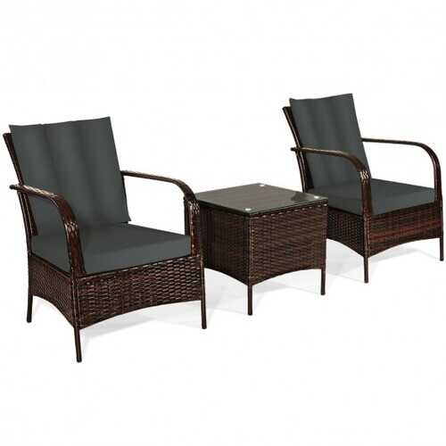 3 Pcs Patio Conversation Rattan Furniture Set with Glass Top Coffee Table and Cushions-Gray - Color: Gray