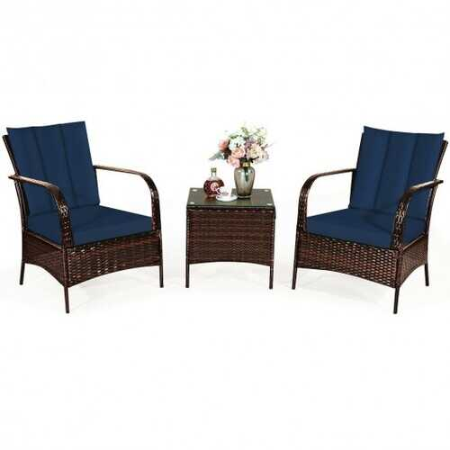 3 Pcs Patio Conversation Rattan Furniture Set with Glass Top Coffee Table and Cushions-Navy - Color: Navy