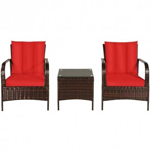 3 Pcs Patio Conversation Rattan Furniture Set with Glass Top Coffee Table and Cushions-Red - Color: Red