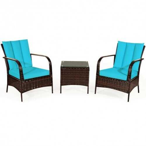 3 PCS Patio Rattan Furniture Set-Turquoise