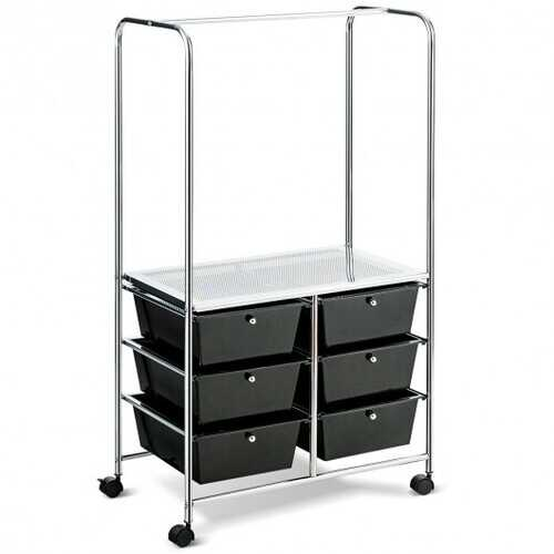 6 Drawer Rolling Storage Cart with Hanging Bar -Black - Color: Black