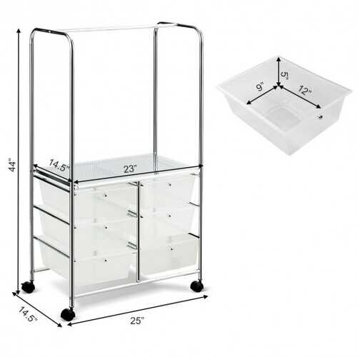 6 Drawer Rolling Storage Drawer Cart with Hanging Bar for Office School Home-Clear - Color: Clear