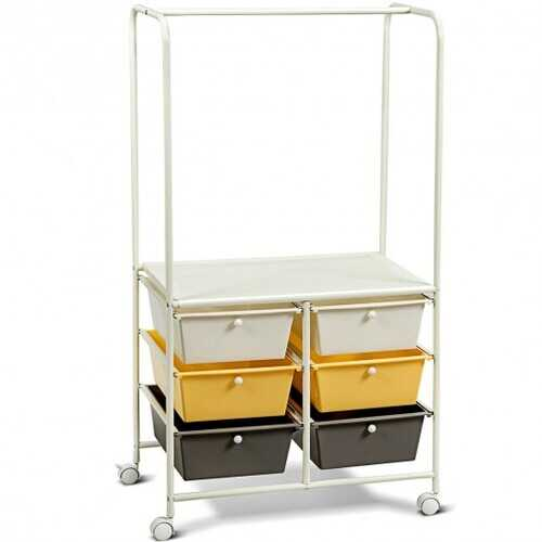 6 Drawer Rolling Storage Cart with Hanging Bar -Yellow - Color: Yellow