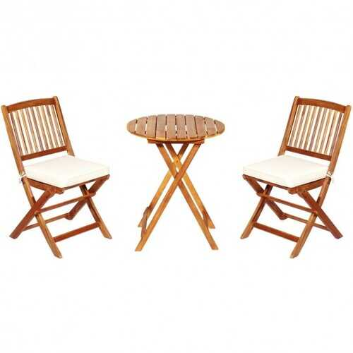 3PCS Patio Folding Wooden Bistro Set Cushioned Chair -White - Color: White
