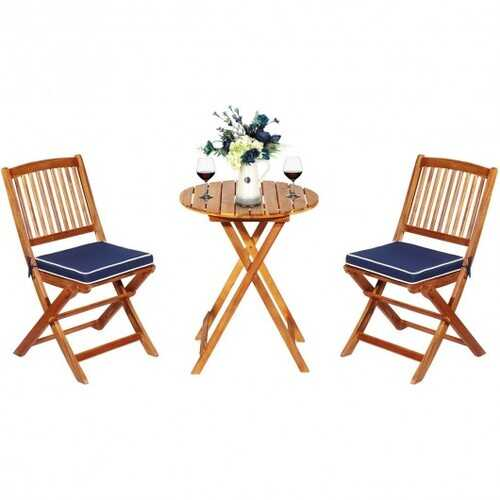 3PCS Patio Folding Wooden Bistro Set Cushioned Chair -Navy - Color: Navy