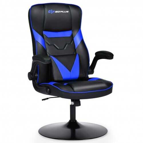Rocking Gaming Chair Height Adjustable Swivel Racing Style Rocker -Blue - Color: Blue