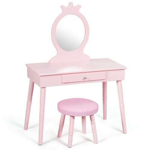 Kids Vanity Makeup Table & Chair Set Make Up Stool