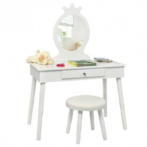 Kids Vanity Makeup Table & Chair Set Make Up Stool-White