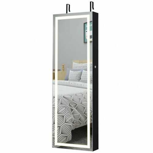Door Wall Mount Touch Screen Mirrored Jewelry Cabinet-Black