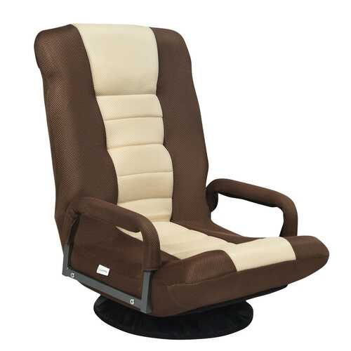 360-Degree Swivel Gaming Floor Chair with Foldable Adjustable Backrest-Brown