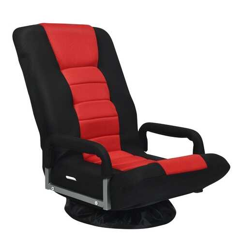 360-Degree Swivel Gaming Floor Chair with Foldable Adjustable Backrest-Red