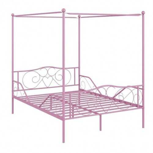 Full Size Metal Canopy Bed Frame 4 Poster Steel Slats Headboard Footboard-Pink