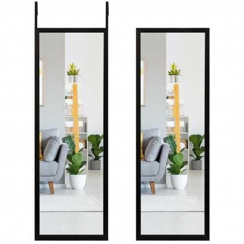 Full Length Metal Door Mirror with Adjustable Hook-Black