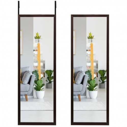 Full Length Metal Door Mirror with Adjustable Hook-Coffee