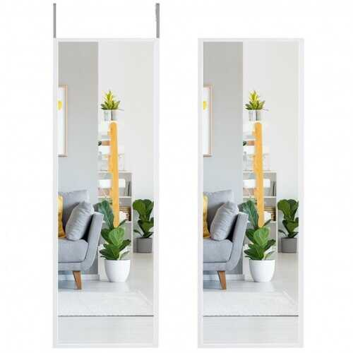 Full Length Metal Door Mirror with Adjustable Hook-White - Color: White