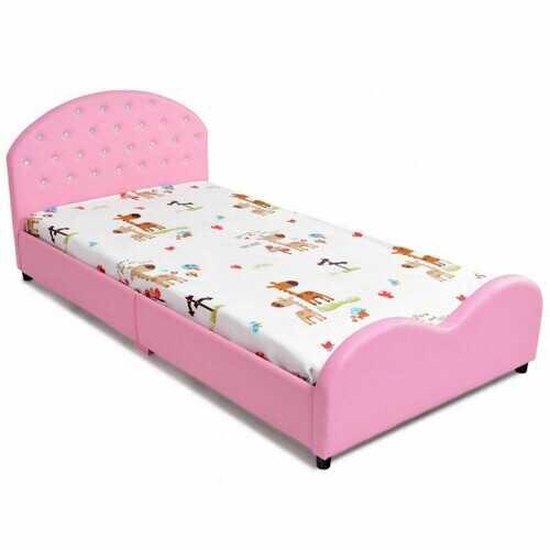 Kids Children PU Upholstered Platform Wooden Princess Bed