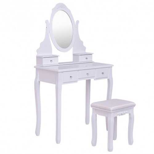 Wooden Vanity Set with 360?° Rotating Oval Mirror and Cushioned Stool-White - Color: White