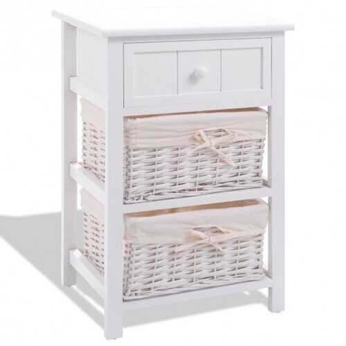 White Nightstand End Table with 2 Baskets