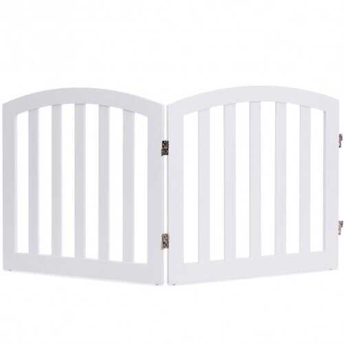 "24"" 2 Panel Configurable Folding Free Standing Wooden Pet Safety Fence with Arched Top-White-A"