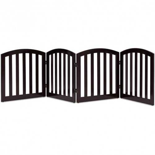 """24"""" Configurable Folding Free Standing 4 Panel Wood Pet Fence-Brown - Color: Brown"""