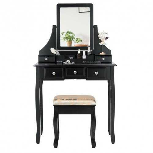 5 Drawers Removable Box Makeup Dressing Vanity Set-Black - Color: Black