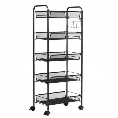 5 Tier Mesh Rolling File Utility Cart Storage Basket-Black - Color: Black