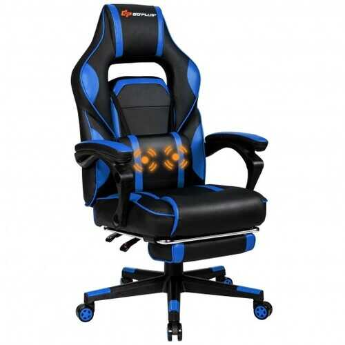 "Massage Gaming Chair with Footrest and Lumbar Support - Color: Blue - Size: 26.5"" x 26.5"" x (49""-52.5"")"