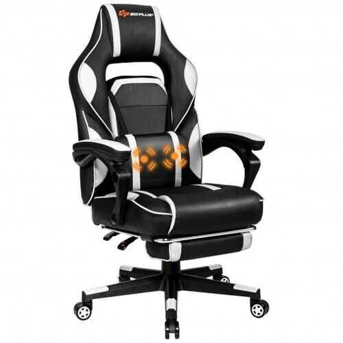 "Massage Gaming Chair with Footrest and Lumbar Support-White - Color: White - Size: 26.5"" x 26.5"" x (49""-52.5"")"