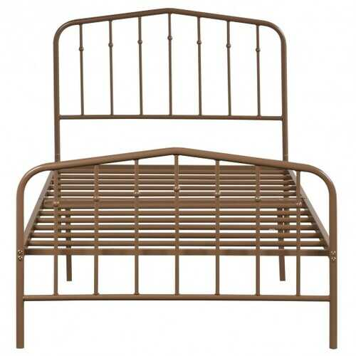 Twin Size Metal Bed Frame with Headboard & Footboard-Brown
