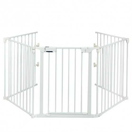115 Inch Length 5 Panel Adjustable Wide Fireplace Fence-White - Color: White