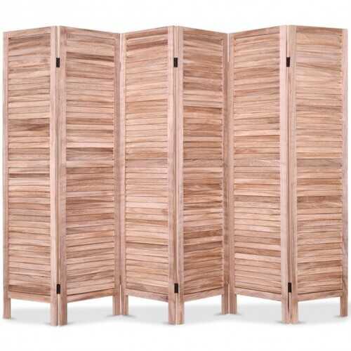 6 Panels Classic Venetian Wooden Slat Room Screen-Brown - Color: Brown