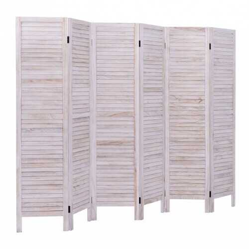 6 Panels Classic Venetian Wooden Slat Room Screen - Color: White