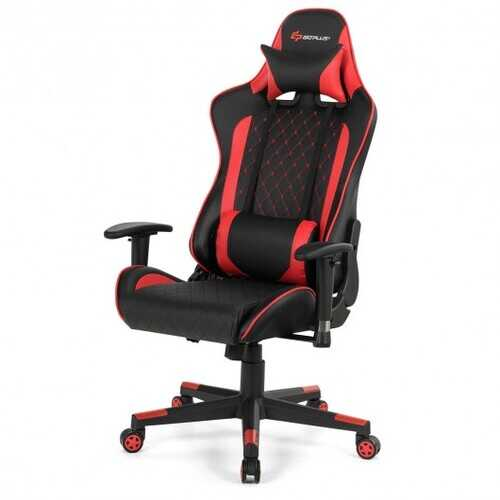 Massage Gaming Chair with Lumbar Support and Headrest-Red - Color: Red
