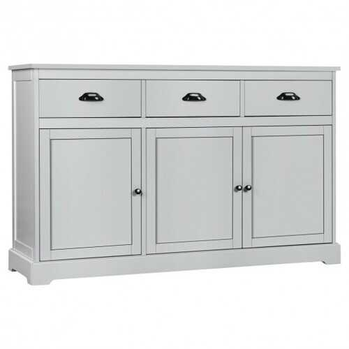 3 Drawers Sideboard Buffet Storage Cabinet-Gray